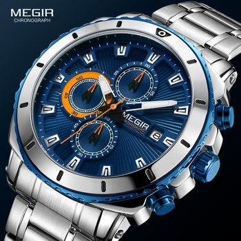 MEGIR Men's Blue Dial Chronograph Quartz Watches Fashion Stainless Steel Analogue Wristwatches for Man Luminous Hands 2075G-2 - discount item  57% OFF Men's Watches