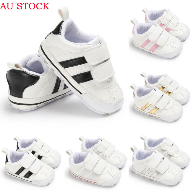 Infant Toddler Soft Soled Hook Loop Unisex Prewalker Sneakers Baby Boy Girl Solid Newborn Crib Shoes 0-18 Months