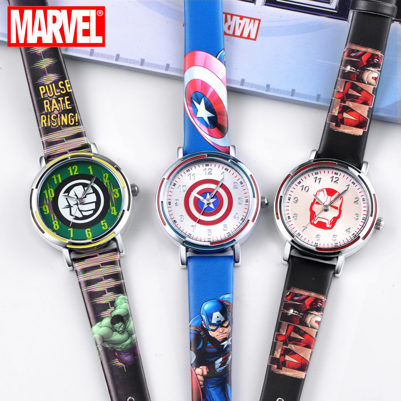 Disney Marvel Quartz Wristwatch American Captain Steel City Hulk Boy Waterproof Student Watch Kids Watches Boys Bar Buckle