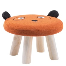 Children's Stool Baby Sofa Cute Animal Round Solid Wood Low Household Small Cartoon Bench