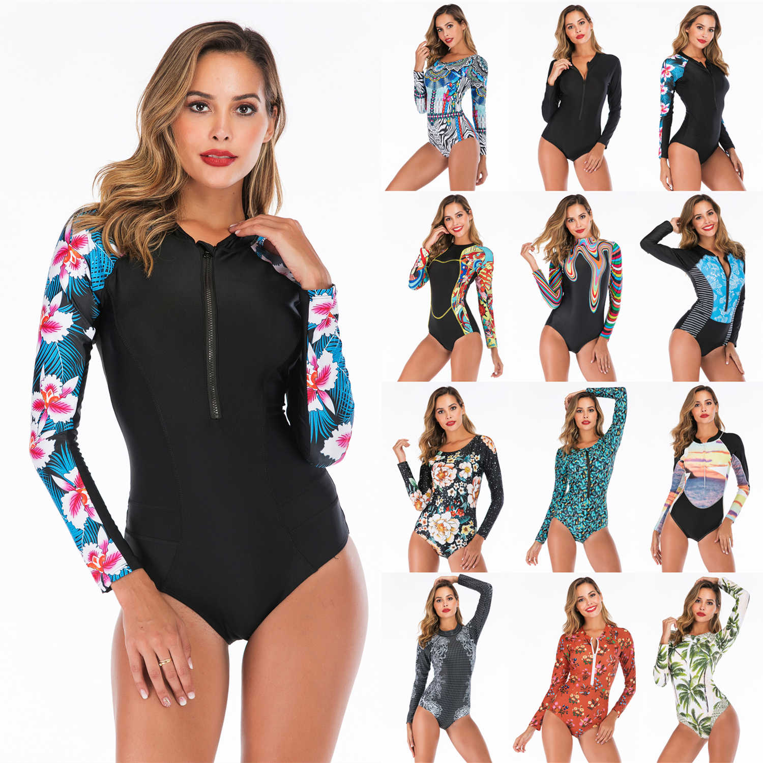 2019 Long Sleeves Rashguard Women Surf Swimwear Floral One Piece Swimsuit For Diving UV Swimming Shirt  Rash Guard Wetsuits