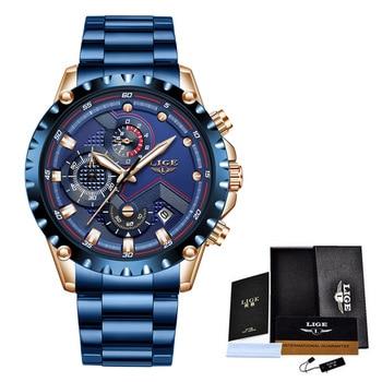 2020 New LIGE Blue Casual Mesh Belt Fashion Quartz Wristwatches Mens Watches Top Brand Luxury Waterproof Clock Relogio Masculino - S full blue, China