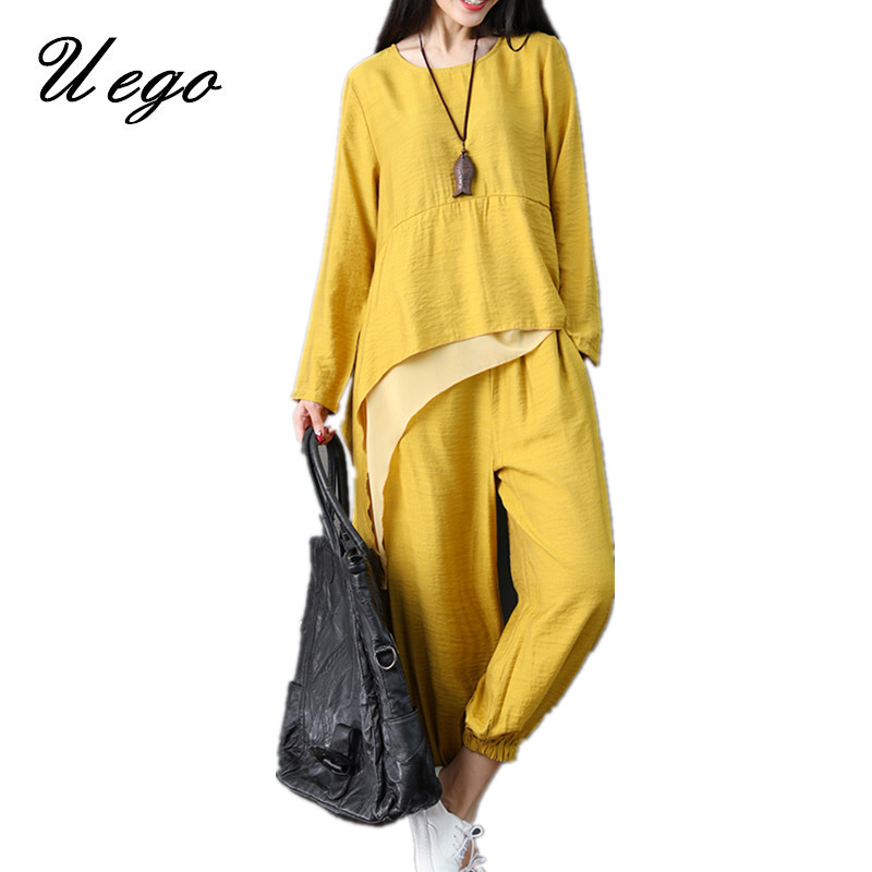 Uego Cotton Linen Women Sets Loose Tops+Pants Two Piece Sets Women Casual Set Plus Size 2019 New Lady Autumn Clothes Suits Sets