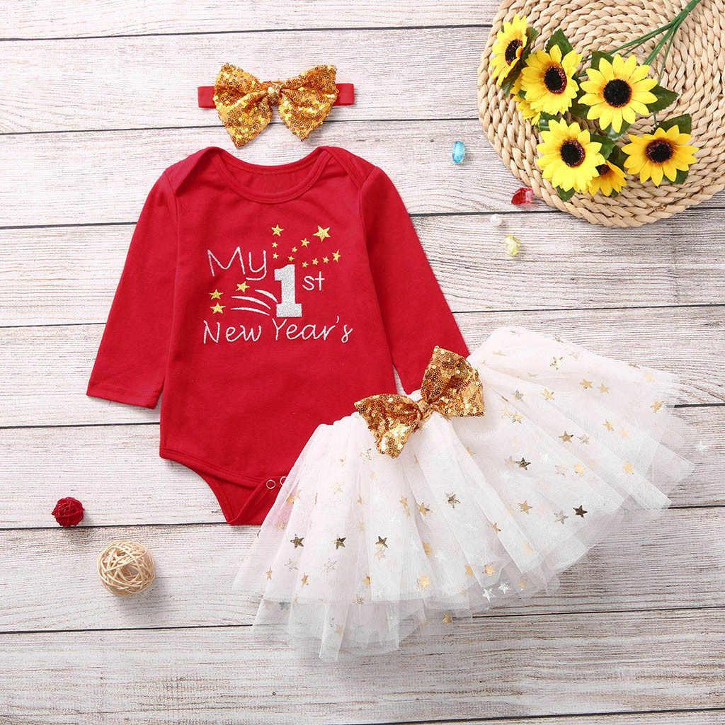 2019 Cute My first New Year niño bebé niños niñas Año nuevo mono tapas tutú faldas banda para el cabello Set vetement Babys fille