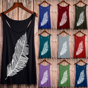 Summer top women Feather Print Long Vest Fashion streetwear Ladies modis Tops oversized plus size t shirt poleras mujer Tank