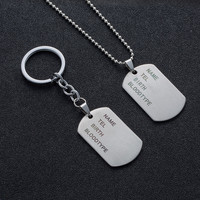 Military Army Tactical Engraving Name ID Tags Cards Pendant Man Necklace&Pendants Stainless Steel Fashion Keychain Men Jewelry 6