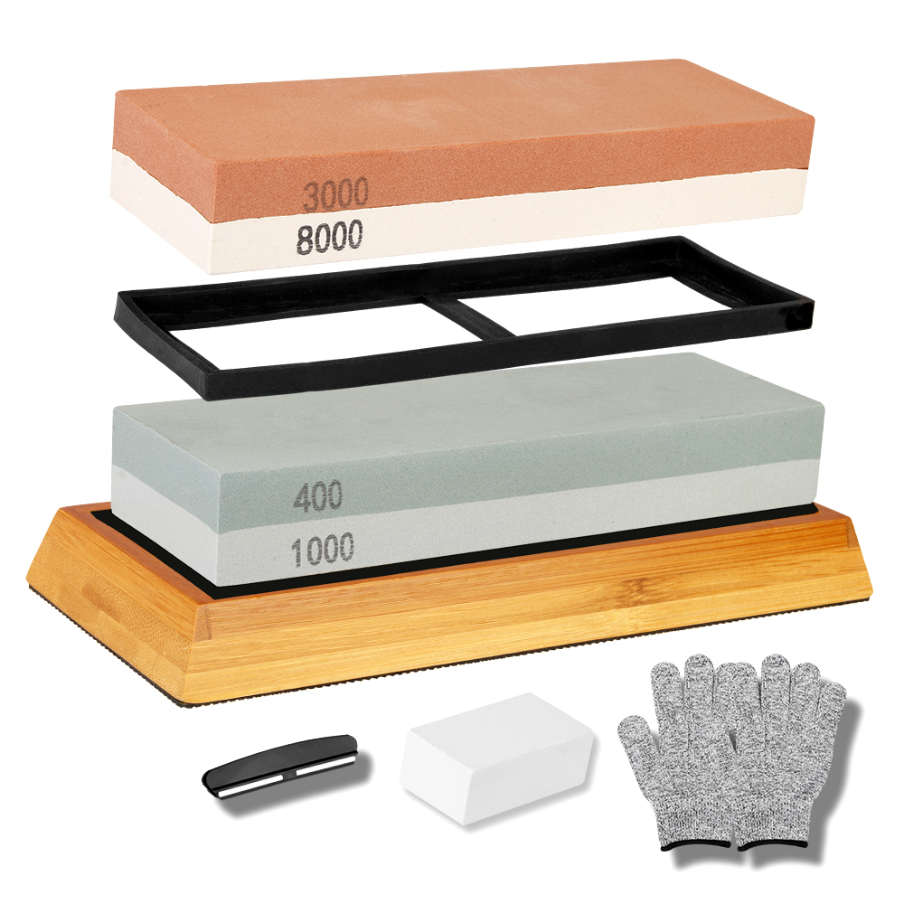2 in 1 Sharpening Stone Set 400/1000 3000/8000 Grits <font><b>Whetstones</b></font> Knife Sharpening with Angle Guide Gloves Bamboo Base Holder image