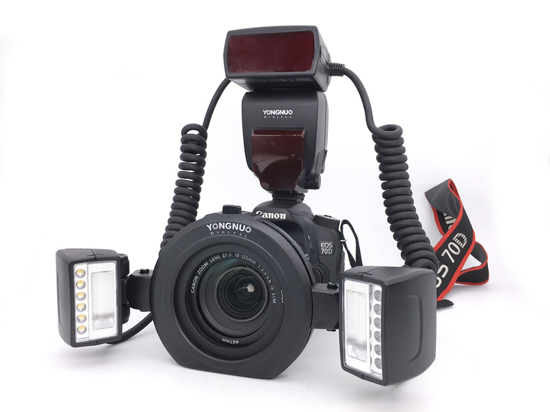 Светодиодная лампа для видеосъемки Yongnuo YN24EX YN24 EX E-TTL Twin Lite Макро Вспышка Кольцевая вспышка Speedlite для Canon Камера двойной 2 шт. головка вспышки 4 ...