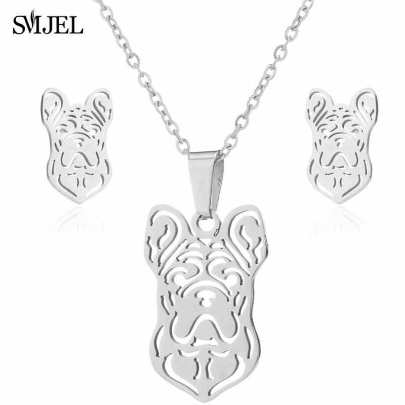 Smjel Stainless Steel Set Punk Bulldog Siberia Anjing Hewan Liontin Kalung Anting-Anting Pecinta Hewan Peliharaan Perhiasan Halloween Hadiah Ulang Tahun