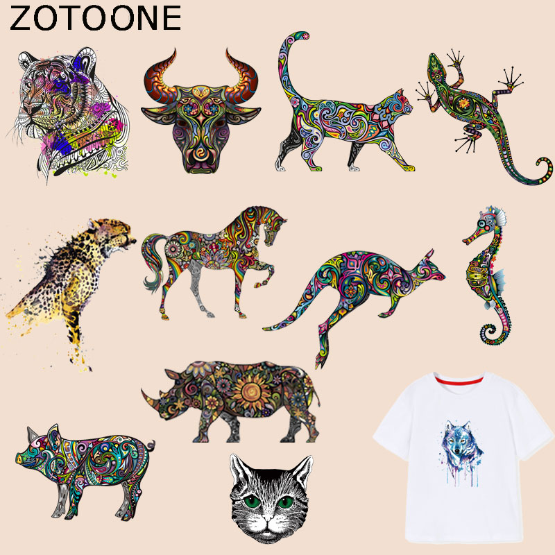 ZOTOONE Colorful Animal Patches Tiger Bull-Head-Patch Iron on Transfers for Clothes T-shirt Accessory Appliques Heat Transfer G