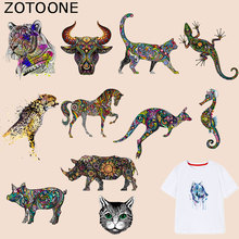ZOTOONE Colorful Animal Patches Tiger Bull-Head-Patch Iron on Transfers for Clothes T-shirt Accessory Appliques Heat Transfer G g blessner ole bull in memoriam