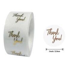 Etiquetas de agradecimiento de papel de aluminio dorado transparente de 1 pulgada, pegatinas bonitas para tarjetas de regalo de boda, pegatinas de sellado de sobre, 50-500 Uds.