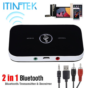 New B6 Wireless Bluetooth 5.0 Receiver Stereo Transmitter 3.5mm Audio Jack Adapter for PC RCA Home TV AUX Music Speaker Sender