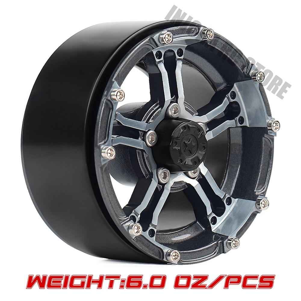 INJORA 171g/pcs Heavy Metal Alloy 1.9 Beadlock 5-Spokes Wheel Rim Hub For 1/10 RC Rock Crawler Axial SCX10 90046