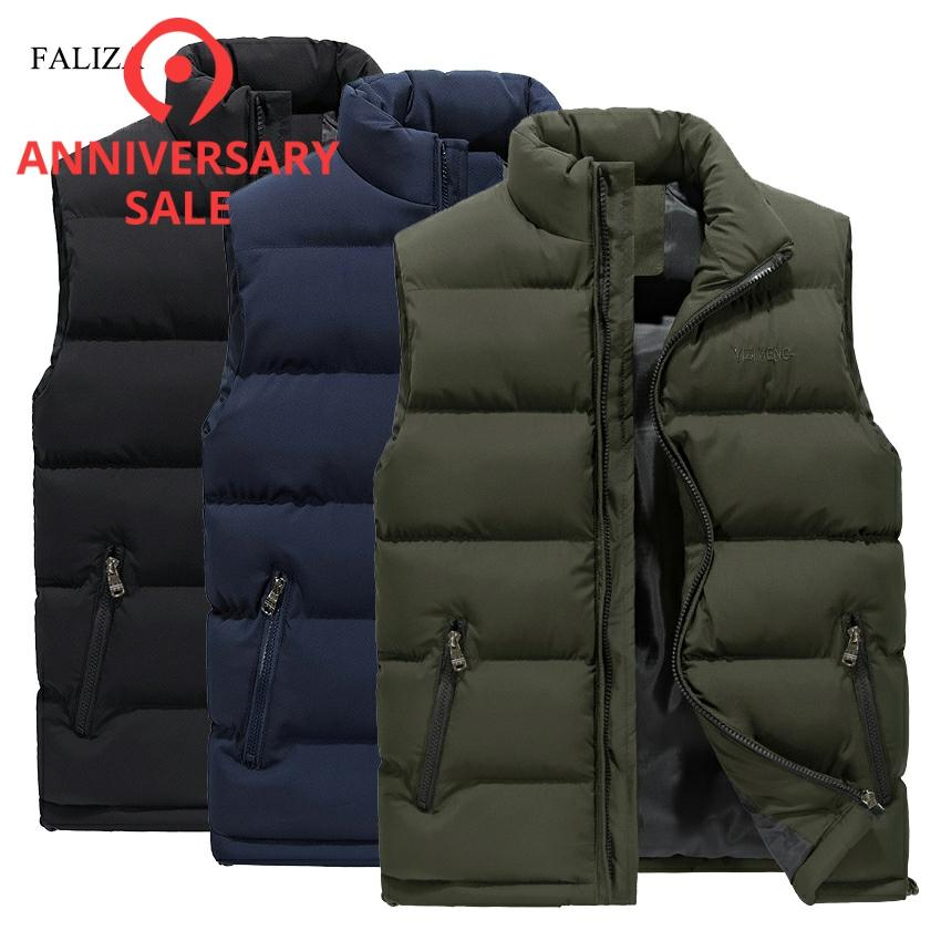 FALIZA New Men's Vest Winter Casual Sleeveless Jacket Down Vest Windproof Warm Waistcoat Casual Coats Plus Size M-6XL MJ104