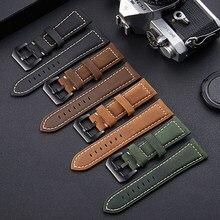 Pulseira de relógio de couro genuíno de alta qualidade para homens 22-26mm esporte pulseiras de relógio nova moda matte brown masculino