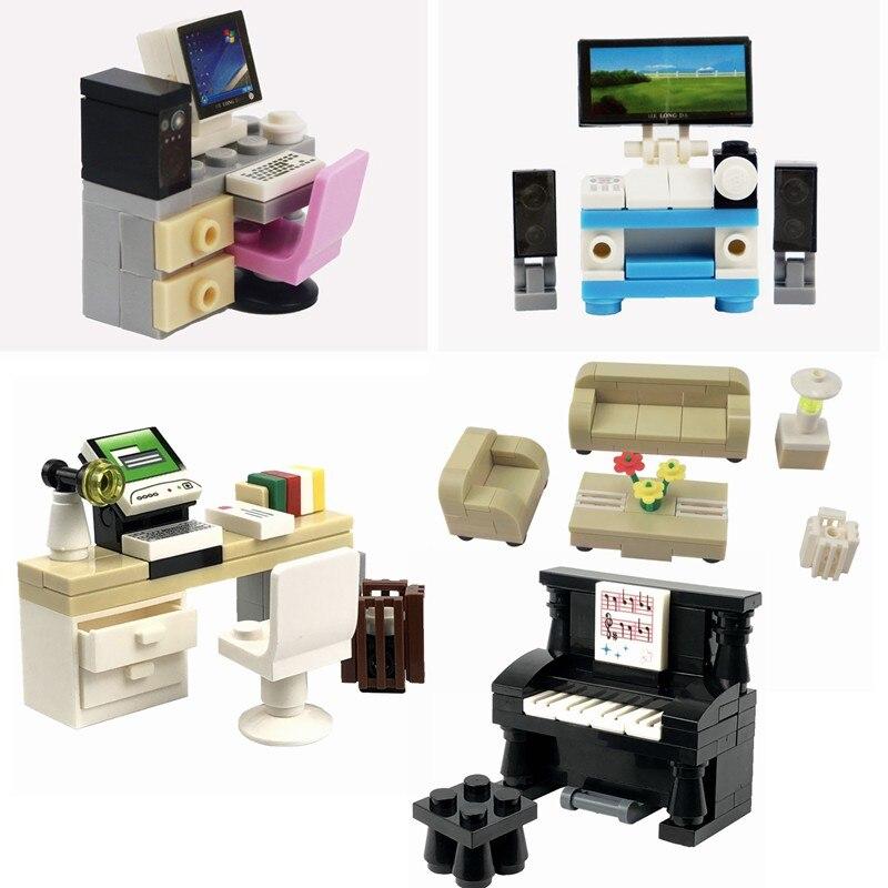Locking City MOC Blocks Creator Bricks Piano TV Computer Sofa Dest DIY Set Sale Building Blocks Toys for Children Creative