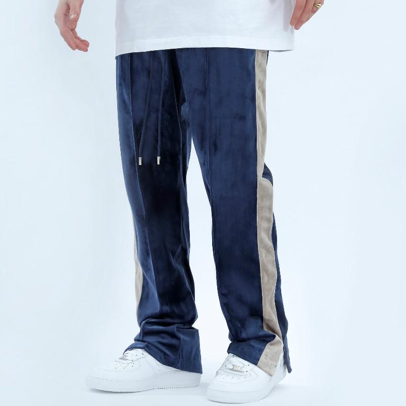 Städtischen Streetwear Samt Track Hosen Herbst und Winter Hüfte Hop Patchwork Schweiß Hose Lose Beiläufige Velours Jogginghose Männer 2020