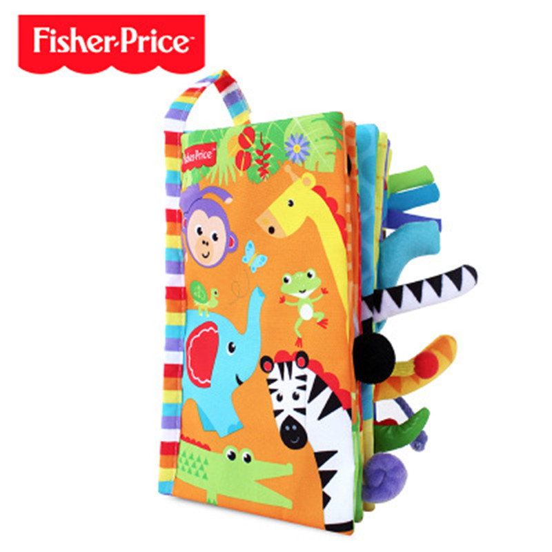 Fisher Baby Cloth Book 3D Animal Tail Cloth Book Does Not Fade Baby Newborn Soft Cloth Book Children Learning Educational Toys