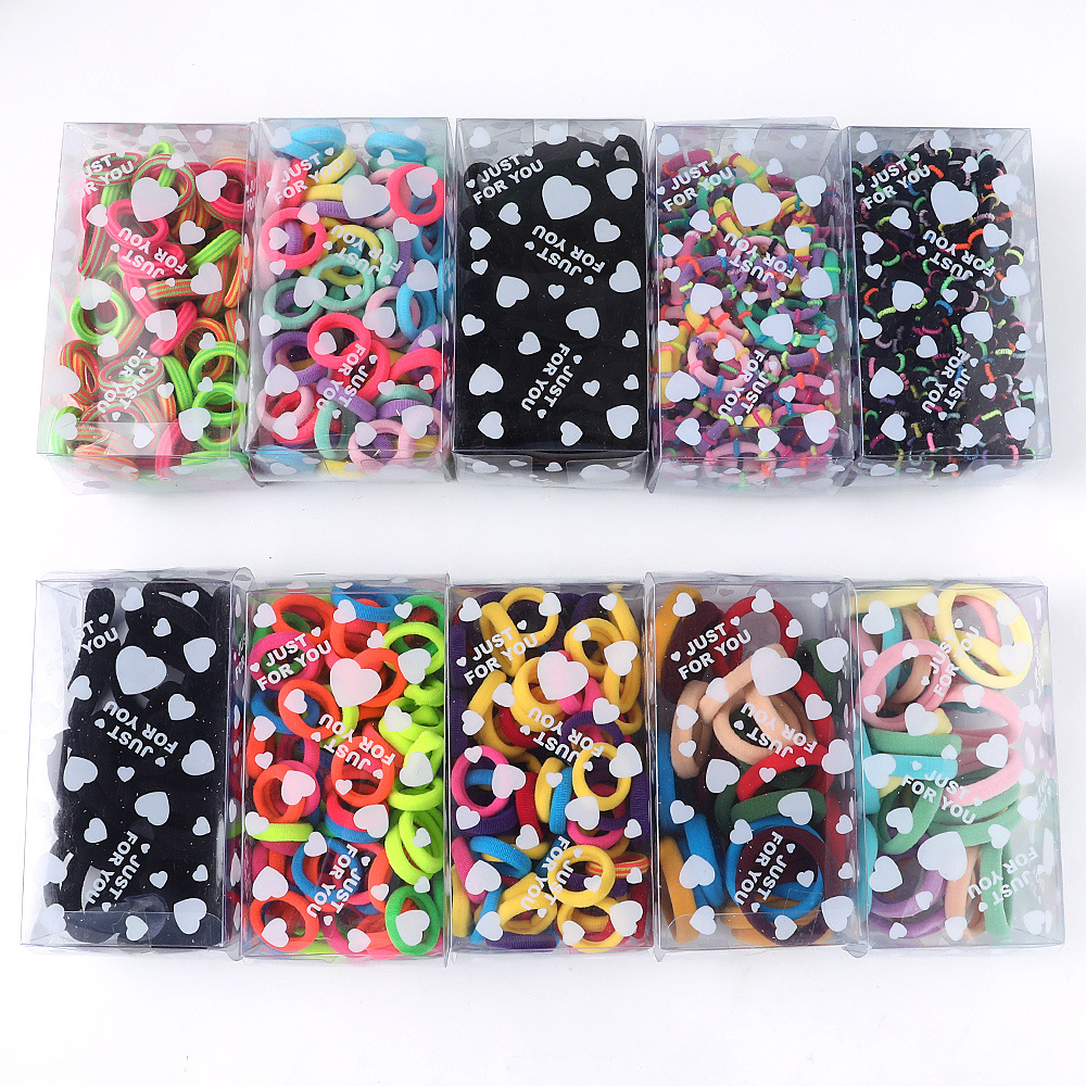 Boxed Mini Hair Ring Elastic Ponytail Rope For Children Candy Color Rubber Band Baby Hair Elastic Hairband Children Hair Circle