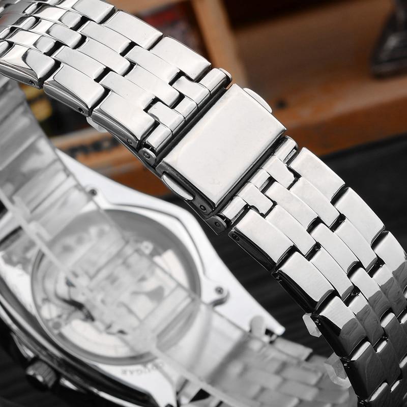 H057fb0583a4844c3bdc096b007e6c46aI Men Watch Hollow Triangular Mechanical Watches Stainless Steel Men's Wristwatches Fashion Brand Men Clock Male Dropshipping!!!