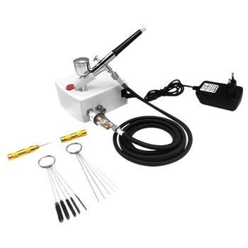 Mini Dual Action Airbrush Compressor Set for Nails Kit Modeller Spray Airbrush Tool Cake Decoration EU Plug