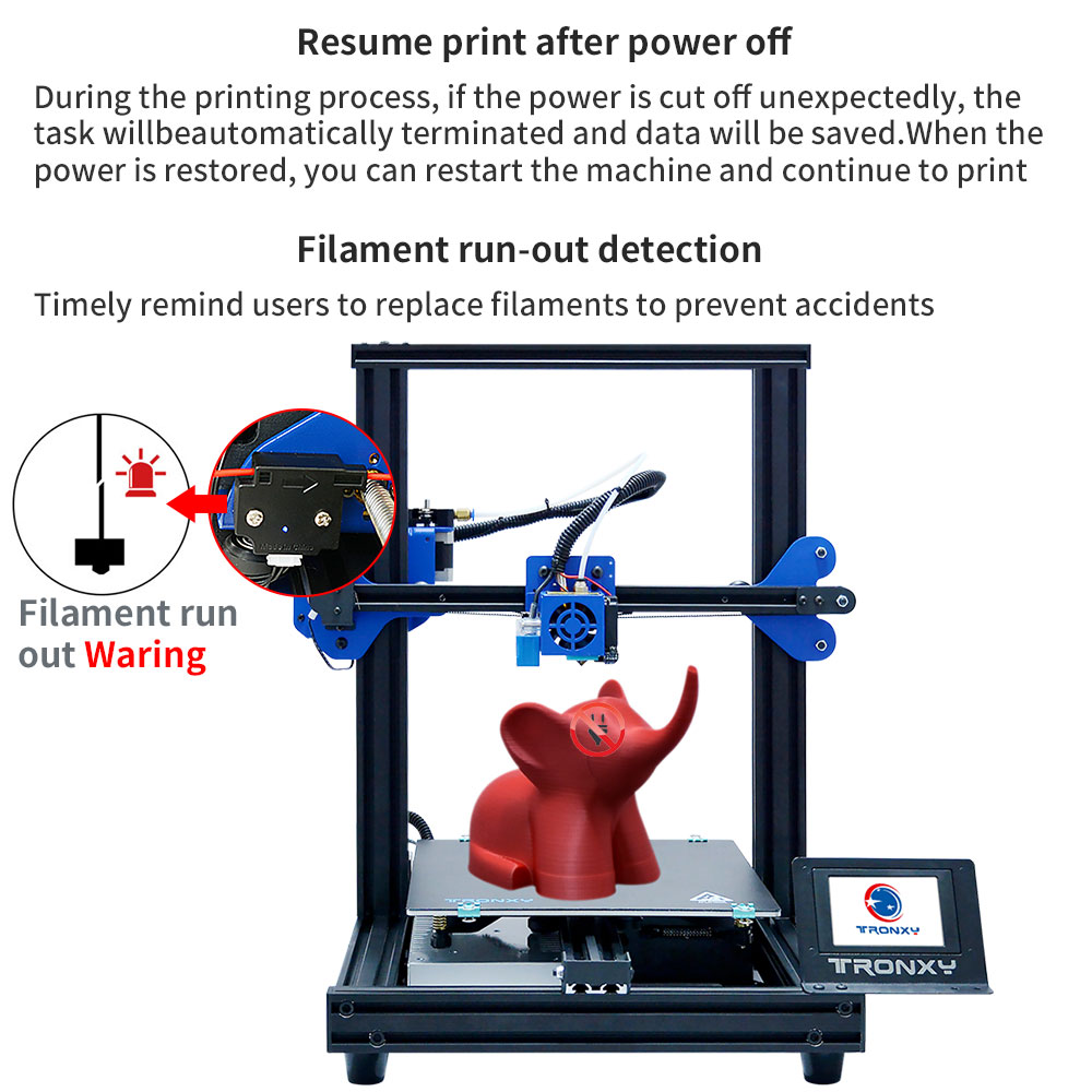 Image 2 - TRONXY 3D Printer XY 2 PRO 3D Printer Large Size I3 255*255 Hotbed V slot Resume Power Failure Printing FDM printing 3D Drucker3D Printers   -