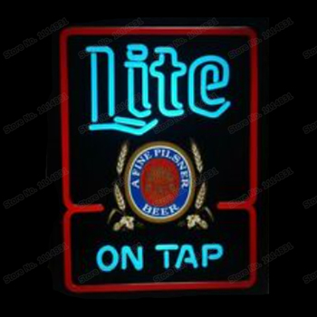 Miller Lite ON TAP Printed A Fine Pilsner Beer Neon Sign Handmade Real Glass Tube Bar Store Decoration Display Neon Signs 15X19
