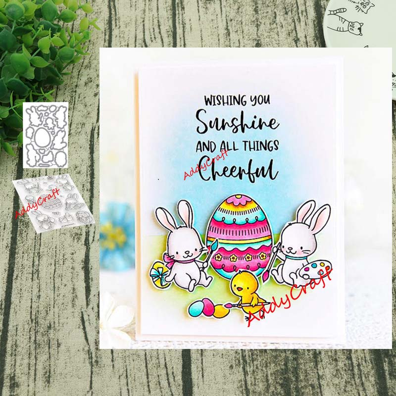 Easter Bunny Metal Cutting Dies And Clear Stamps Transparent Silicone Seal For DIY Scrapbooking Photo Album Decorative