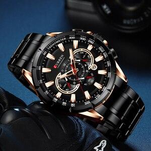 Image 4 - CURREN ספורט שעונים גברים של יוקרה מותג קוורץ שעון נירוסטה הכרונוגרף גדול חיוג שעוני יד עם תאריך Relogio Masculino