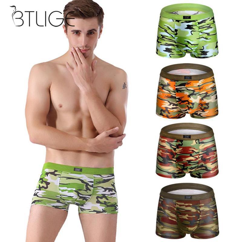 Man Camouflage Printed Boxer Underwear Men Breathable Comfortable Letter Underwear For Men Flat Pants