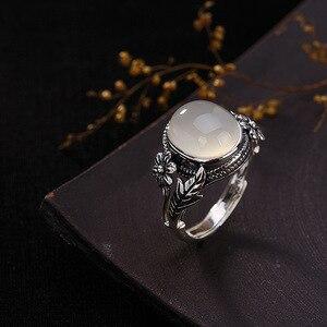 Image 4 - V.YA النساء الحجر الطبيعي حلقة مفتوحة 925 فضة مجوهرات شبه حجر كريم و Marcasite حجر خواتم الإناث السيدات الهدايا