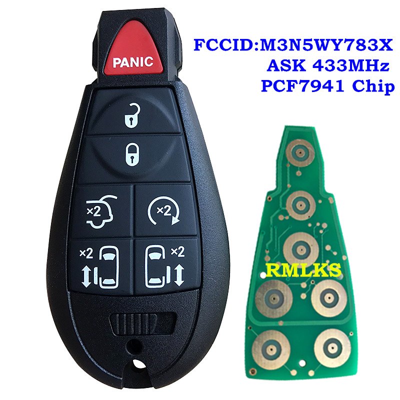433MHz ID46 Chip M3N5WY783X Keyless Entry 6+1 7 Button Smart <font><b>Remote</b></font> <font><b>Key</b></font> Fobik Fob for Chrysler for Dodge for <font><b>Jeep</b></font> PCF7941 Chip image