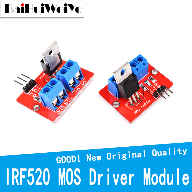 5PCS IRF520 MOS Driver Module For Arduino MCU ARM Raspberry PI 0-24V Top Mosfet Button PWM Dimming LED