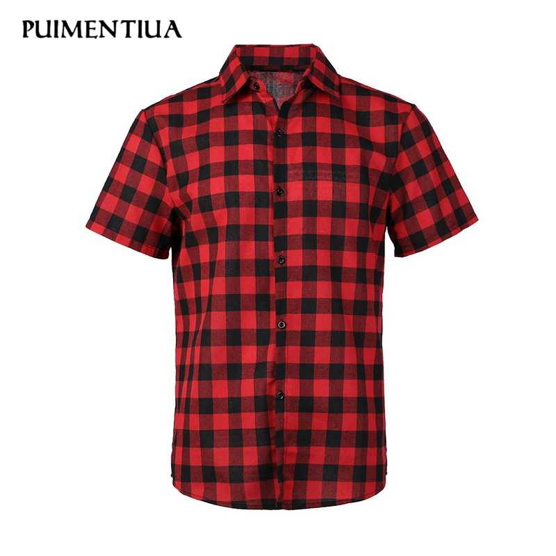 Puimentiua letnia męska Casual Lapel koszula w kratę z krótkim rękawem Slim Fit skręcić w dół mężczyźni koszula z guzikami mężczyźni letnia odzież na co dzień