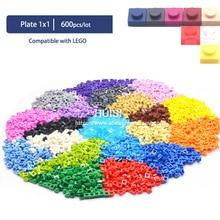 Compatível com legoe bircks peças blocos de construção plástico placa 1x1*1 criativo diy modelos educação aprendizagem brinquedos 600 peças