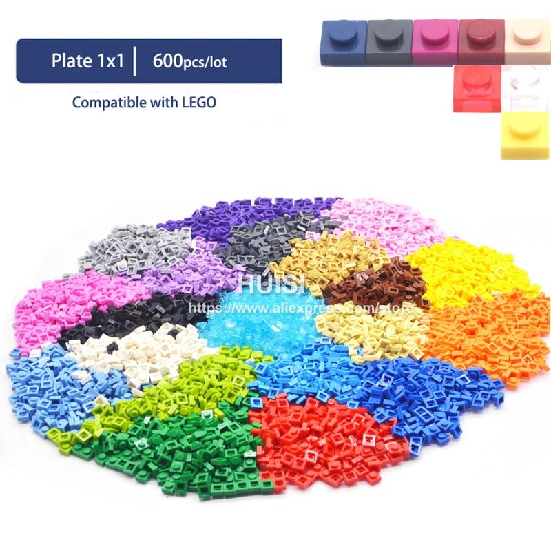 Compatible With LEGOE Bircks Parts Plastic Building Blocks Plate 1x1 1*1 Creative DIY Models Education Learning Toys 600 Pieces