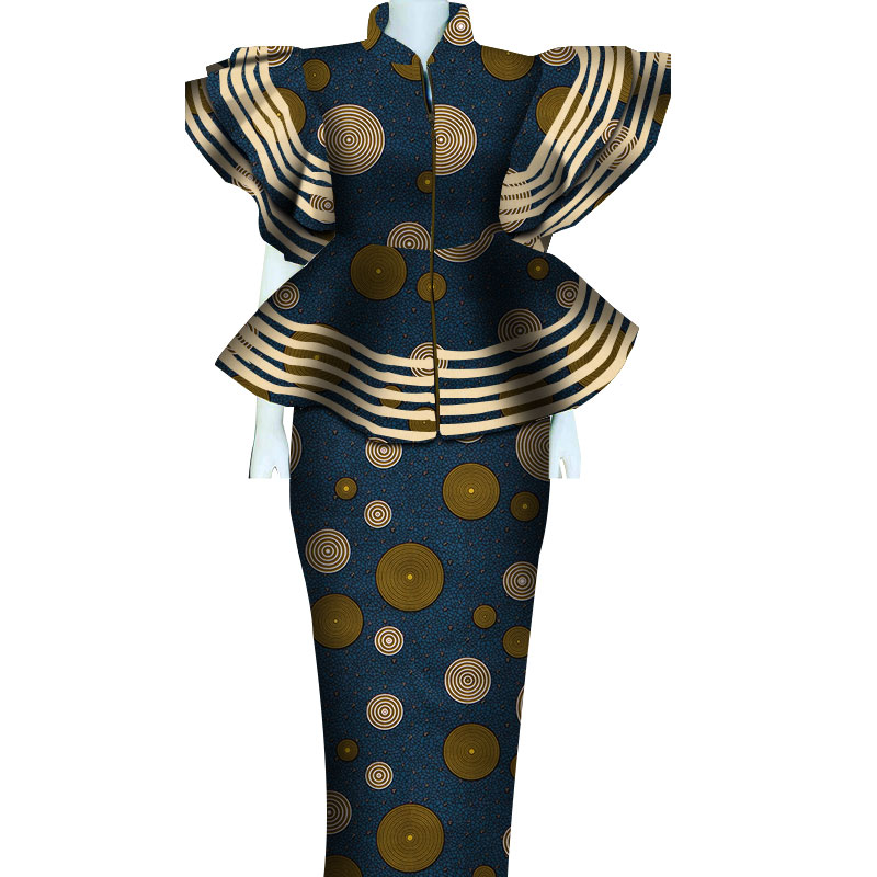 Women African Clothing Dashiki Bazin Riche Women Skirt Set Print Patchwork Customization Zipper Top
