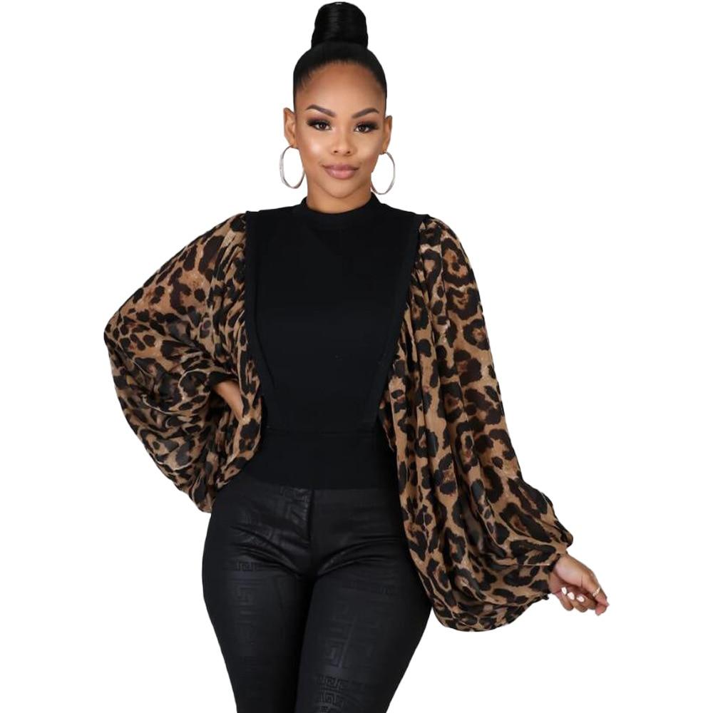 Echoine Tunique Femme Leopard Lantern Sleeve Vintage Blouse Shirt Leopard Elegant Tshirt Women Roupa Feminina Ladies Tops