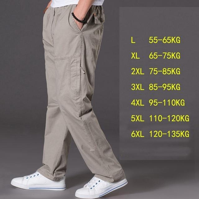 spring summer casual pants male big size 6XL Multi Pocket Jeans oversize Pants overalls elastic waist pants plus size men