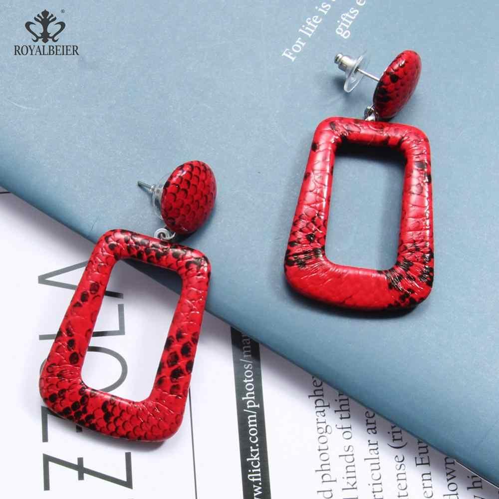 New Bijoux Women Punk Vintage Big Snake Skin Dangle Earrings Rectangle Oversize Geometric Drop Snake Earrings Fashion Jewelry