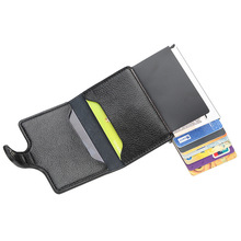 RFID Anti Theft Wallet Card Bag Leather Automatic Popup Credit Card Bag Men Anti-theft Card Package Coin Purse цена и фото