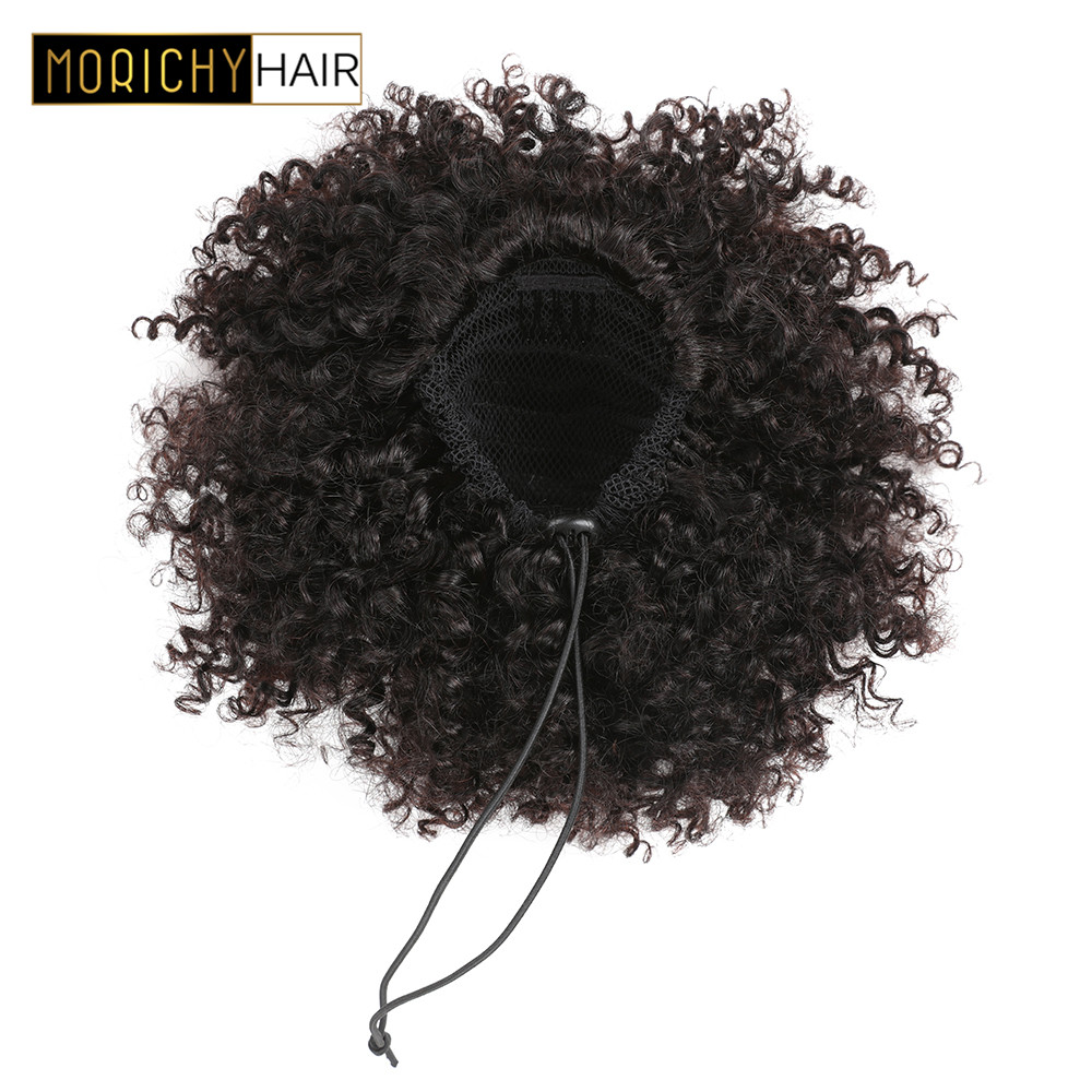Morichy Kinky Curly Hair Ponytail Clip-In Human Hair Extensions Drawstring Chignon Brazilian Remy Hair Natural Black For Woman