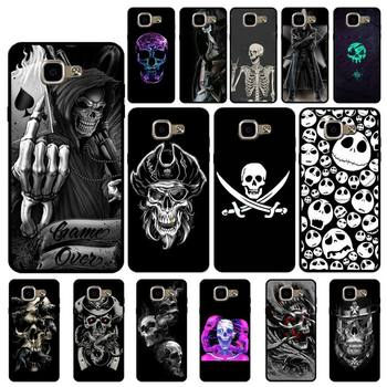 YNDFCNB Grim Reaper Skull Skeleton Luxury Hybrid Soft Phone Cover for Samsung A6 A8 Plus A7 A9 A20 A20S A30 A30S A40 A50 A70 image