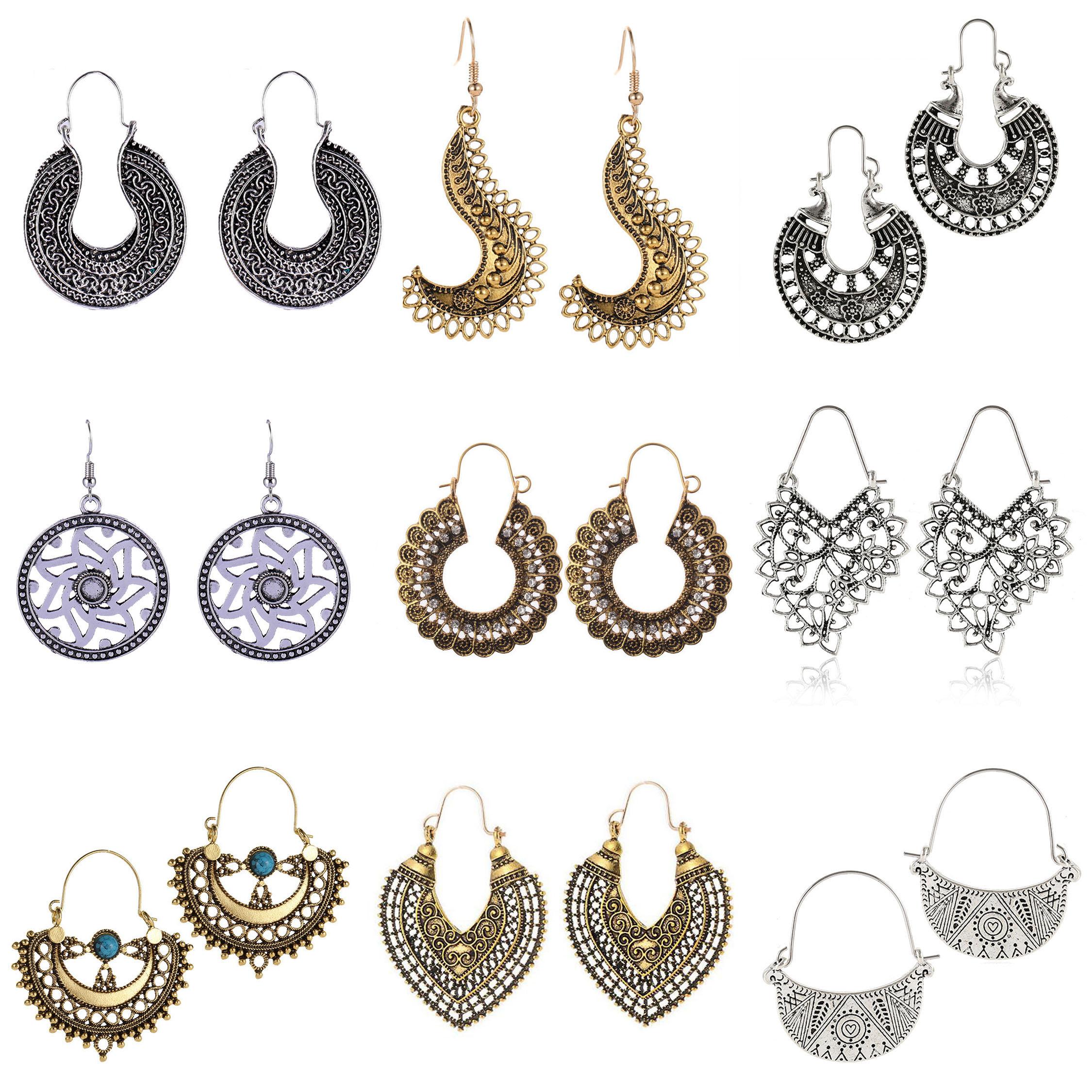 Earring For Women Girls Dangler Eardrop Summer Bohemian Fashion Geometric Gift Party Golden Silver Vintage Jewelry
