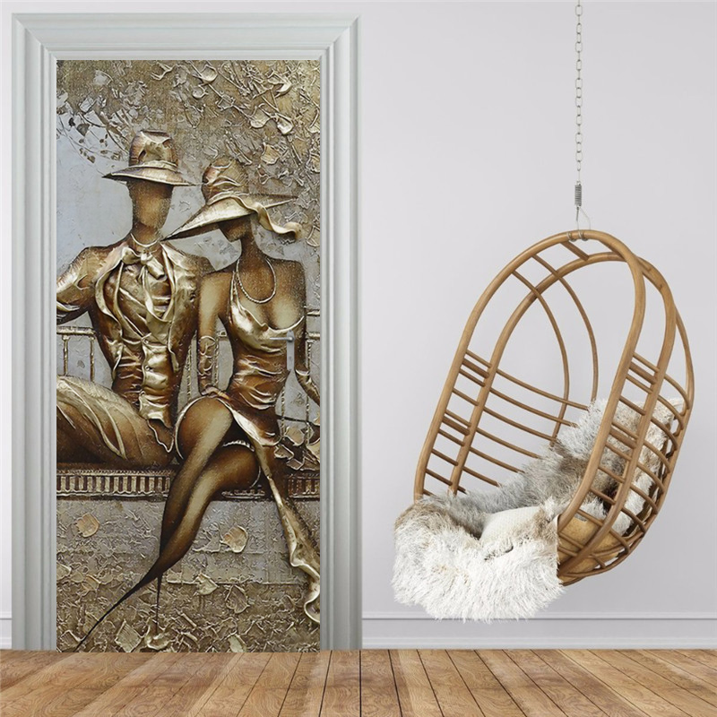 Door Sticker 3D Stereo Golden Figure Mural Wallpaper Living Room Bedroom European Style Wall Sticker Self-Adhesive Door Poster