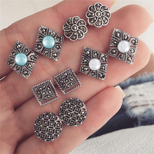 5 pieces / set of women's bohemian beads square rhinestone charm pendant earrings set alloy charm earrings perforated jewelry цена