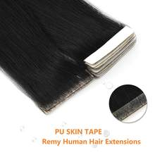 MW PU Skin Tape In Human Hair Extensions Black Brown Color Remy Adhesive Invisible Tape Hair 16