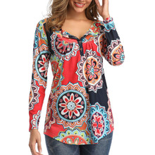 купить Women T-Shirt 2019 Vintage Floral Autumn Tops V-neck Button Pleated T-Shirts Long Sleeve  Loose Printed Casual T-shirt Female дешево