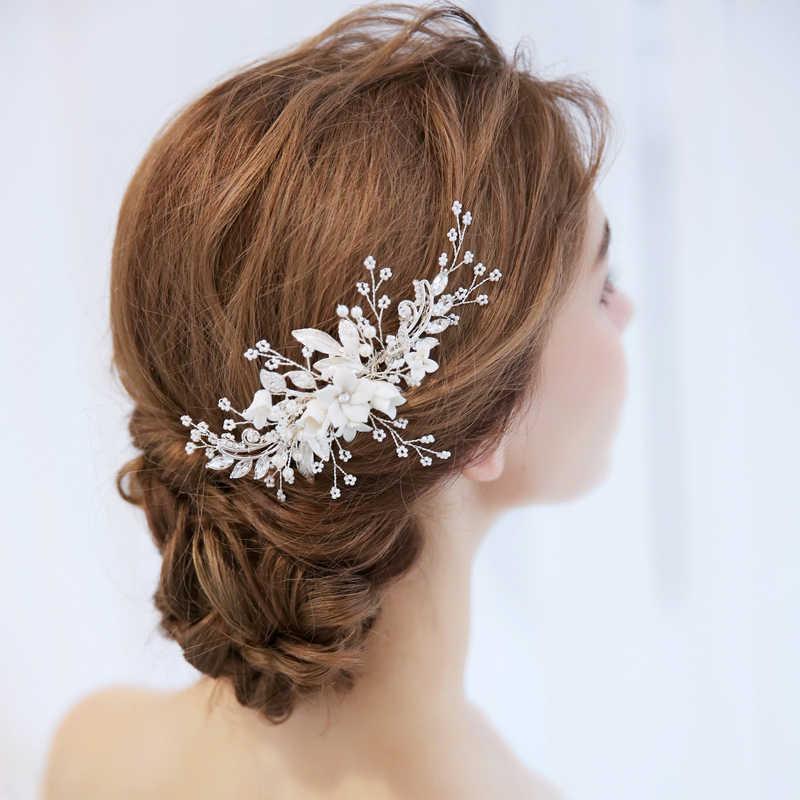 Npason 2020 acessórios para o cabelo de noiva tiara casamento pente clipe de cabelo flor casamento jóias cabelo bandana pérola strass headpiece